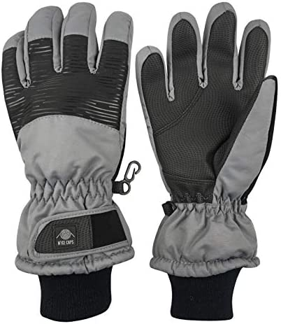 N Ice Caps Kids Bulky Thinsulate Waterproof Winter Snow Ski Glove with Ridges Charcoal Grey product image