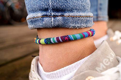 Surfer Fußband für Damen - Made by Nami Handmade Boho Strand Schmuck - Fußkettchen Mädchen Frauen - Festival Fußbändchen - 100% ökologische Baumwolle und Wasserfest - Hippie Fussband - Türkis