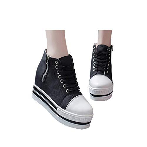 MYMYG Plateauschuhe Sportschuhe Frauen Casual Schnürschuhe Sneaker Canvas High-Top Dicke Bottom Schuhe Laufschuhe Fitness Atmungsaktiv Sneakers Schnürschuhe Erhöhte Freizeitschuhe (2 Schwarz, 39)