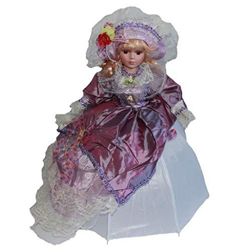HTYG Bambole in Miniatura di Porcellana Antica-Madame vittoriana in Stand di...