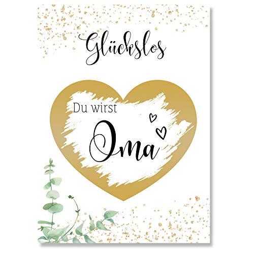 Rubbelkarte (Du wirst Oma) um Schwangerschaft zu verkünden - Goldene Karte als Geschenk für die Oma - Rubellose als Geschenkidee - Glückslos als Überraschung zum Baby