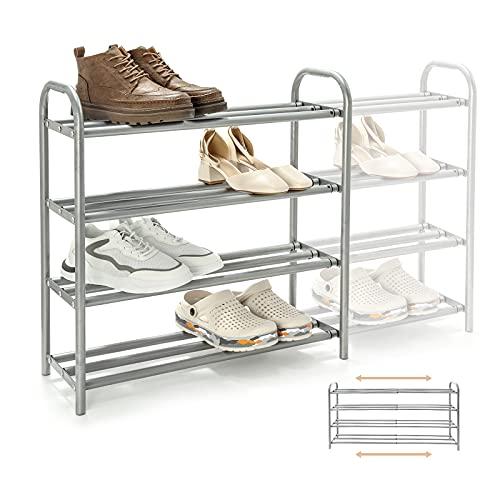 Gurkkst Zapatero de 4 Niveles Extensible Estable Metálico Zapateros Estanteria Resistente y Duradero para 20+ Pares de Zapatos (60-100) x 22,5 x 61,5 cm