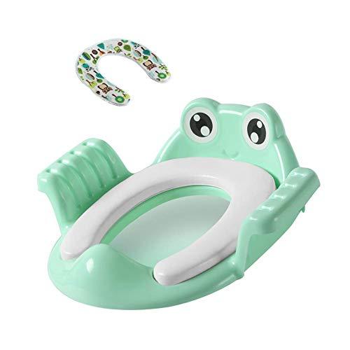 JIEER-C Ergonomische stoel, potje, toiletbril, comfortabel pvc-kussen, stabiele toiletbril voor kinderen, babypot, kleine kinderen, kruk, stoel voor kinderen, antislip, voor jongens en meisjes, 1-7 kinderen groen