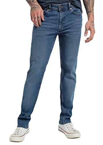 SIX VALVES - Pantalon Denim Elastico para Hombre - Confort   De algodón   Cierre con Cremallera   Tallaje en Pulgadas   Talla Inch - 36