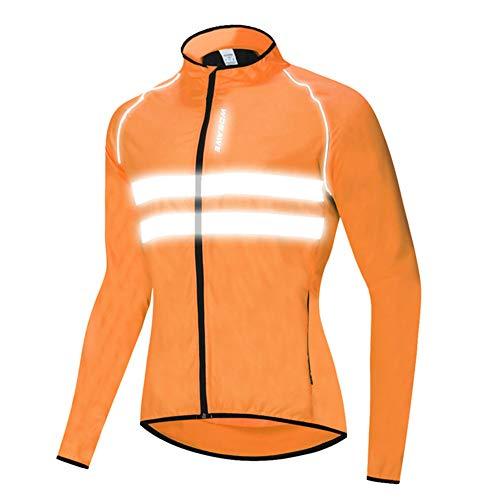 HTABY Reflective Jacket Men Women Windproof Cycling Windbreaker Mountain Road Bike Waterproof Jacket High Visibility,Orange,L