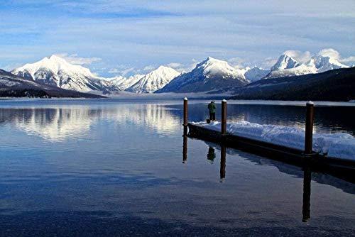 N-R Rompecabezas de 1000 Piezas para Adultos,Pesca de Invierno, Muelle de Barcos de Pesca, Rompecabezas de Nieve de Invierno