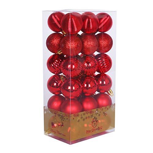 No One&U Christmas Balls Ornaments for Xmas Christmas Tree,Shatterproof Christmas Tree Decorations (436) (Red-2)
