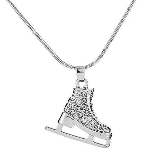 Lemegeton 3D Adorable Exquisite Crystal Figure Skate Charm Pendant Necklace for Girls Women Jewelry