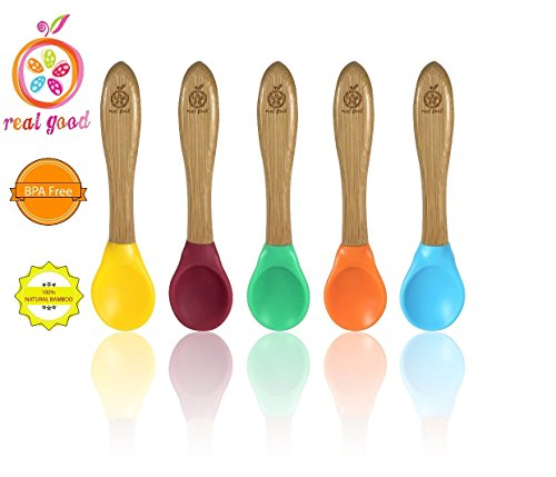 Baby Feeding Spoons |5 pack| Made of Natural Bamboo with food grade silicone Tips. BPA and Phthalate Free. Unisex Baby~Toddler ~ Infant