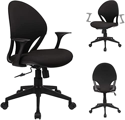 Komene Mesh Office Chair Home Office Desk Chair, Ergonomic Computer Chair with Lumbar Support Armrest, Black Executive Rolling Swivel Chair, Adjustable Mid Back Task Chair with Wheels (X) (X)