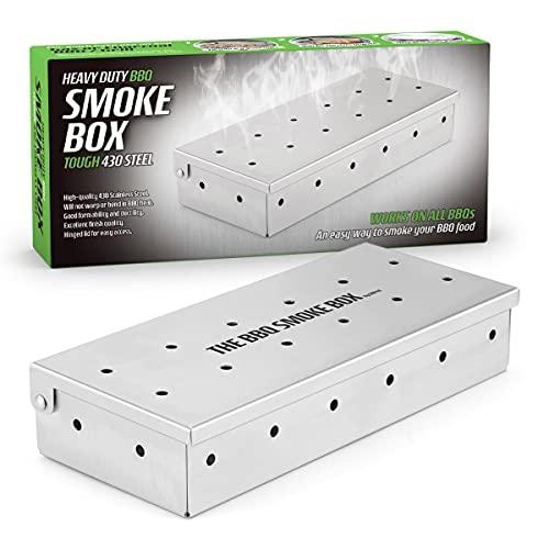 CKB LTD BBQ Wood Chip Smoke Box Edelstahl Barbecue Smoker Metall Outdoor Kochen Zubehör Universal Smoker für Gas und Holzkohle Grillen Fügen Sie rauchigen Geschmack zu gegrilltem Fleisch hinzu.