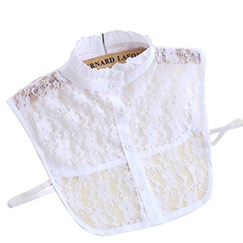 Abnehmbare Kragen - LEORX floraler Spitze halb Shirt Bluse Ausschnitt für Frauen (weiss)