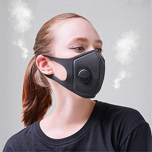 EqWong, maschera viso unisex alla moda, anti-smog in spugna PM2.5 anti-polvere, anti-appannamento con valvola respiratoria 3.0 per ciclismo MTB