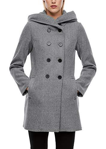s.Oliver Damen Melierter Mantel aus Wollmix Grey Melange 46