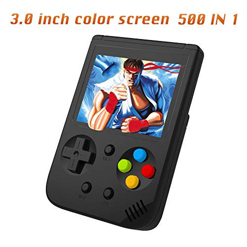 Ruihoxin Handheld Game Console, 500 Classic Games 3.0 inch HD LCD Screen Portable Video Game, Retro Game Console can be Played on TV, Best Gift for Children and Adults, Gifts. (Black)