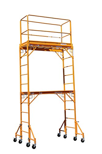 """CBMScaffold Multipurpose Maxi Square Baker Style Scaffold Tower with Improved Clamp on 18"""" Outrigger Package - 12ft, 1,000-Lb. Capacity, Model# 2MFS18O"""