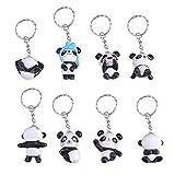 Toyvian 8 llaveros con diseño de oso panda con dibujos animados para colgar en el bolso, bolso, el bolso o las llaves del coche