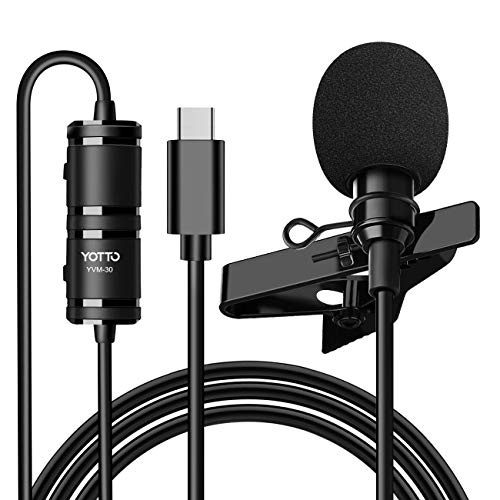 YOTTO Micrófono de Solapa Lavalier USB C Tipo C Omnidirectional Condensador Micrófono Plug & Play de Video Audio con USB-B Adaptador para Tipo C Móviles Smartphones, PC