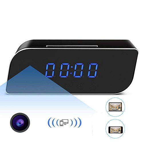 Ugetde P2P1080P Wifi Pinhole Reloj despertador oculto cámara Mini reloj espía cámara (vídeo en tiempo real por teléfonos móviles WiFi, computadora)