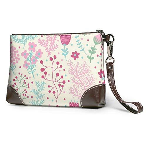 Ahdyr Bolso de mano de cuero para mujer Monederos Carteras de teléfono de embrague Bolso pequeño de cuero con diseño sin costuras de color rosa