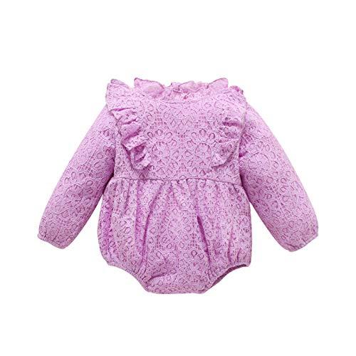 Beudylihy Pelele para bebé niña de manga larga de encaje de poliéster para recién nacidos y bebés de 0 a 24 meses morado 3-6 Meses