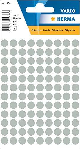 HERMA 1838 Vielzweck-Etiketten / Farbpunkte rund (Ø 8 mm, 5 Blatt, Papier, matt) selbstklebend, permanent haftende Markierungspunkte zur Handbeschriftung, 540 Klebepunkte, grau