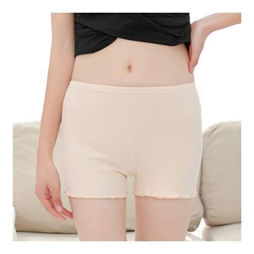 HNZZ Shorts Été en Coton à Rayures Femmes Pantalon Court à mi-Taille Anti Chafing sécurité Underpants Femmes Shorty (Color : Skin Color, Size : S)