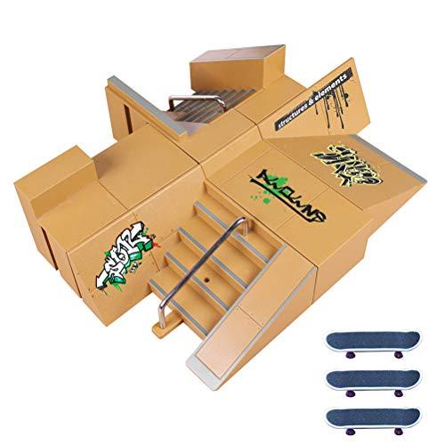Guanan Skate Park Kit, Ramp Teile für Tech Deck Griffbrett Mini Finger Skateboard Griffbretter Ultimate Parks mit 3PCS Finger Boards, Für Finger Skateboard Ultimative Parks Trainings Props