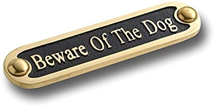 Beware of The Dog Brass Door Sign. Traditional Style Home Décor Wall Plaque Handmade by The Metal Foundry UK.