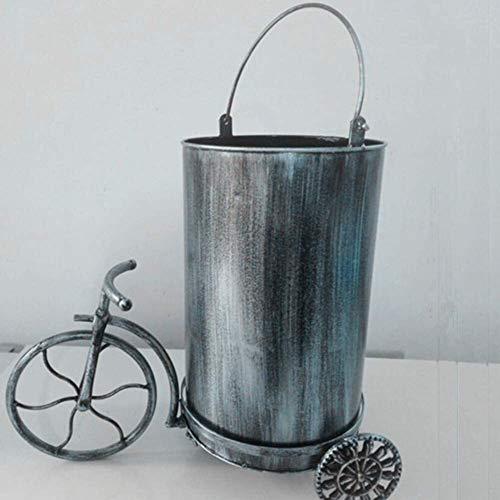 HJKL Verdikte vuilnisbak Vintage Metalen Prullenbak, bar Creatief Afvalpapier Mand Amerikaanse Huishoudelijke Afvalbak Zonder Deksel Met Handgrepen Eenvoudige moderne high-end vuilnisbak