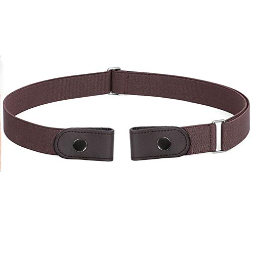 WERFORU No Buckle Women Men Stretch Belt Elastic Waist Belt for Jeans Pants Dresses, Coffee, Pants Size 24-34 Inches