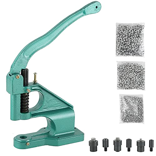 FLK Tech Craft/Industrial Use Manual Press Grommet Machine Heavy Duty with 1500 Grommets Eyelet with 3 Dies