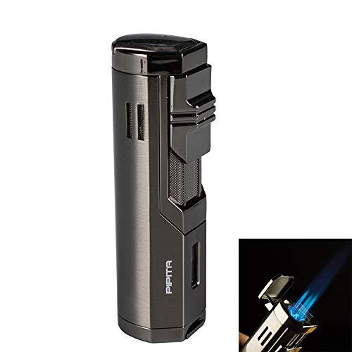 PIPITA Winddicht Zigarren Feuerzeuge Sturmfeuerzeug 3 Jet Blauer Flammen Gas Nachfüllbar Metall Feuerzeuges mit Bohrer (Verkauft ohne Gas)