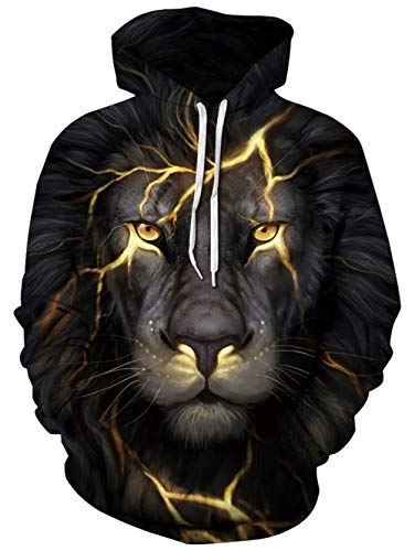 chicolife Black Hoodie Mens 3D Print Novelty Gold Lion Head Hooded Pullover Adults Black Long Sleeve Hoody Sweater Breathable Winter Wear Animal Sweatshirts with Pocket M