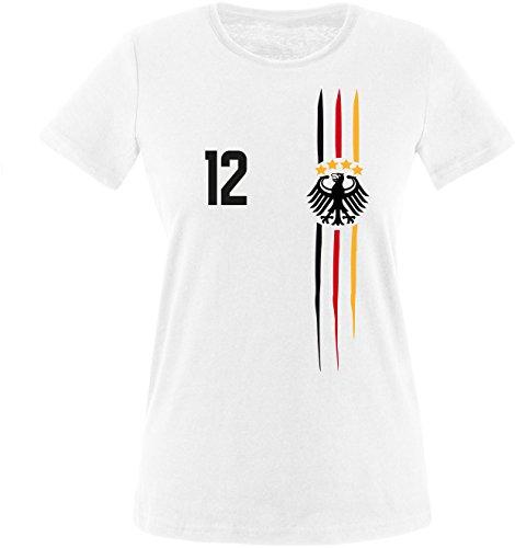 Luckja WM & EM Deutschland T-Shirt Wunschname & Wunschnummer M 03 Damen Rundhals T-Shirt