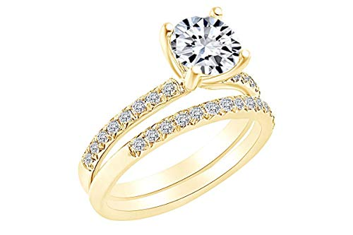 0.39 Carat Round Shape White Natural Diamond Semi Mount Wedding Ring Set 18K Solid Yellow Gold Ring Size-6.5