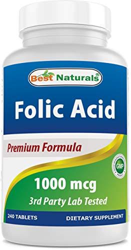 Best Naturals Folic Acid 1000 mcg (Vitamin B9), 240 Tablets