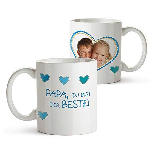 Casa Vivente Foto-Tasse mit Aufdruck Personalisiert mit Foto, Persönliches Foto-Geschenk für Papa, Kaffeetasse als Geburtstagsgeschenk, Vatertagsgeschenke