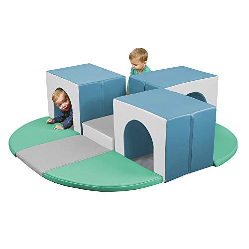 ECR4Kids SoftZone Triple Tunnel Maze, Beginner Toddler Climber for Safe Active Play, Soft Indoor Obstacle Course, Climbing and Crawling Foam Structure for Playrooms and Classrooms - Contemporary