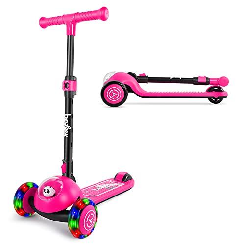 BELEEV Patinete infantil de 3 ruedas, plegable, para niños pequeños, niñas y...