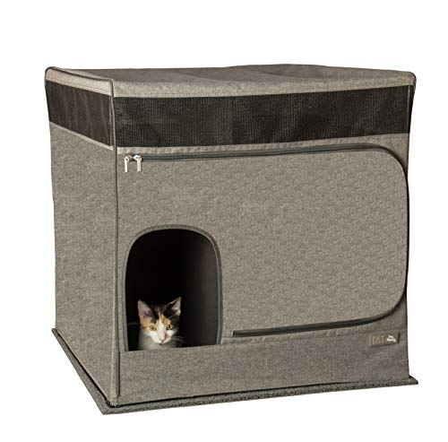 Pet Gear Pro Pawty for Cats with LittertraX Mat, Put an end to Scattered Litter. Box not incl, Soft Charcoal