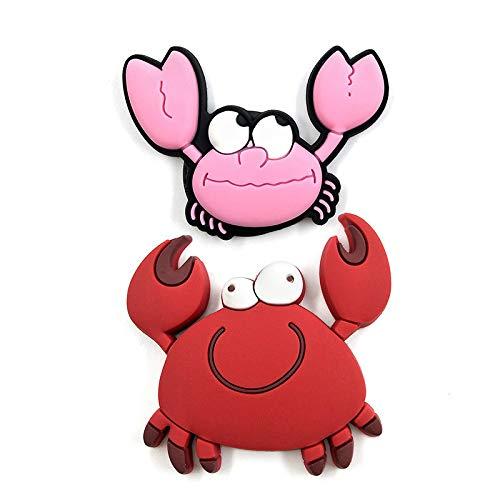 Imanes de nevera encantadores de color rojo rosa cangrejo de silicona para nevera pizarra blanca de dibujos animados de animales pegatinas de refrigerador imanes de mensaje para decoración del