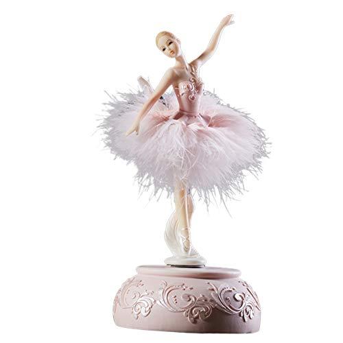 Gelentea Caja de música de bailarina, carrusel de lago cisne con plumas, regalo de cumpleaños/bautizo, idea de regalo para niñas (rosa)