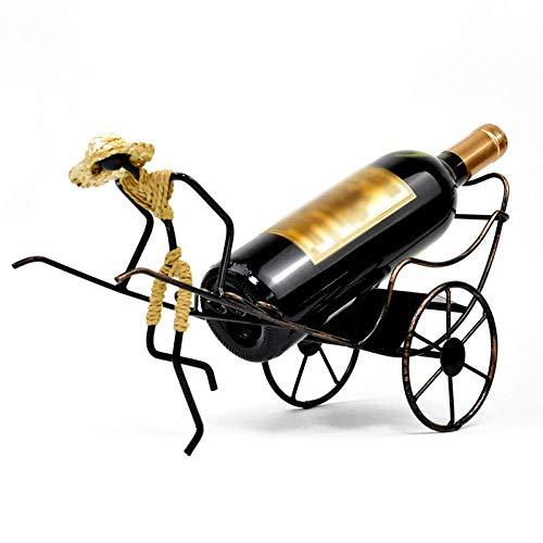 Creative Wine Rack Human Rickshaw Ornaments Retro Iron Art Nostalgic Chinese Style Gifts Home Decorations