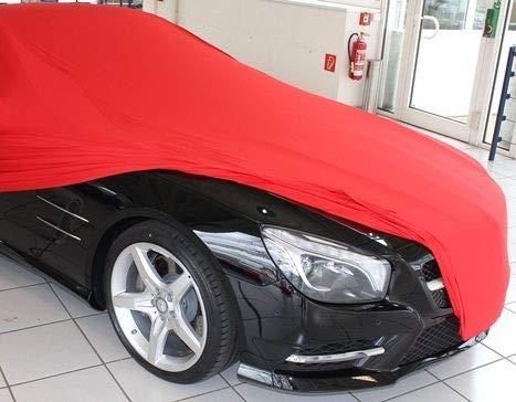 AMS Vollgarage Mikrokontur® Rot für Mercedes SL R231, schützende Autoabdeckung mit Perfekter Passform, hochwertige Abdeckplane als praktische Auto-Vollgarage