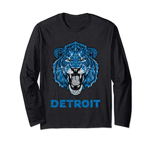 Funny Vintage Lion Face Head Detroit Gifts Long Sleeve T-Shirt