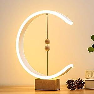 Heng Balance Lamp, lonway Desk Lamp Smart Magnetic Suspension Balance Light Creative LED Night Light Table Lamp Fun Birthday Present Modern Home Dorm Bedside Wood