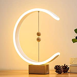 Heng Balance Lamp, lonway Desk Lamp Smart Magnetic Suspension Balance Light Creative LED Night Light Table Lamp Fun Birthday Present Modern Home Dorm Bedside Wood