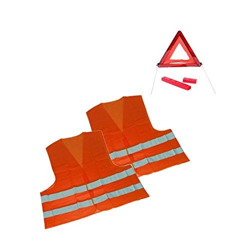 1 x Sicherheits-Set Erste Hilfe Notfallset Urlaub Slowenien 3-TEILIG - 2x Warnweste DIN ISO 20471 Erwachsene; 1x Warndreieck