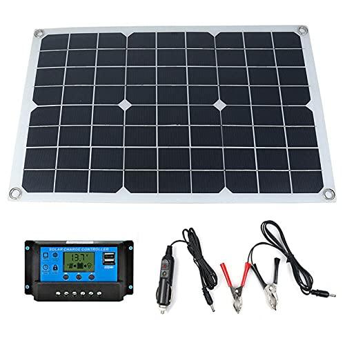 CHJAA Kit de Panel Solar de 100W, Cargador de celda Solar monocristalina con Puerto USB Dual de 18 V / 5 V Fuera de la Red, con Controlador Solar, para teléfono móvil